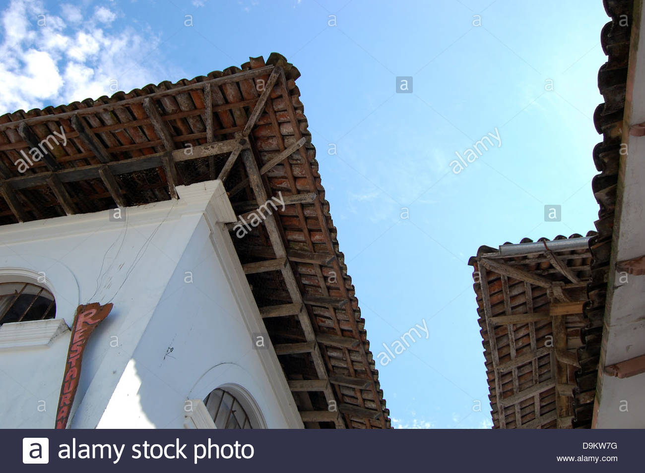 View Looking Up At Roof Eaves Of Colonial Mexico Buildings