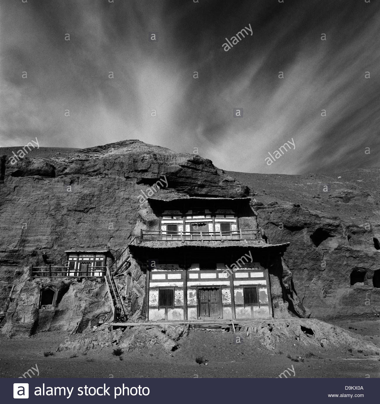 The Mogao grottoes, or caves, Silk Route; Dunhuang, Jiuquan, Gansu Province, China. - Stock Image