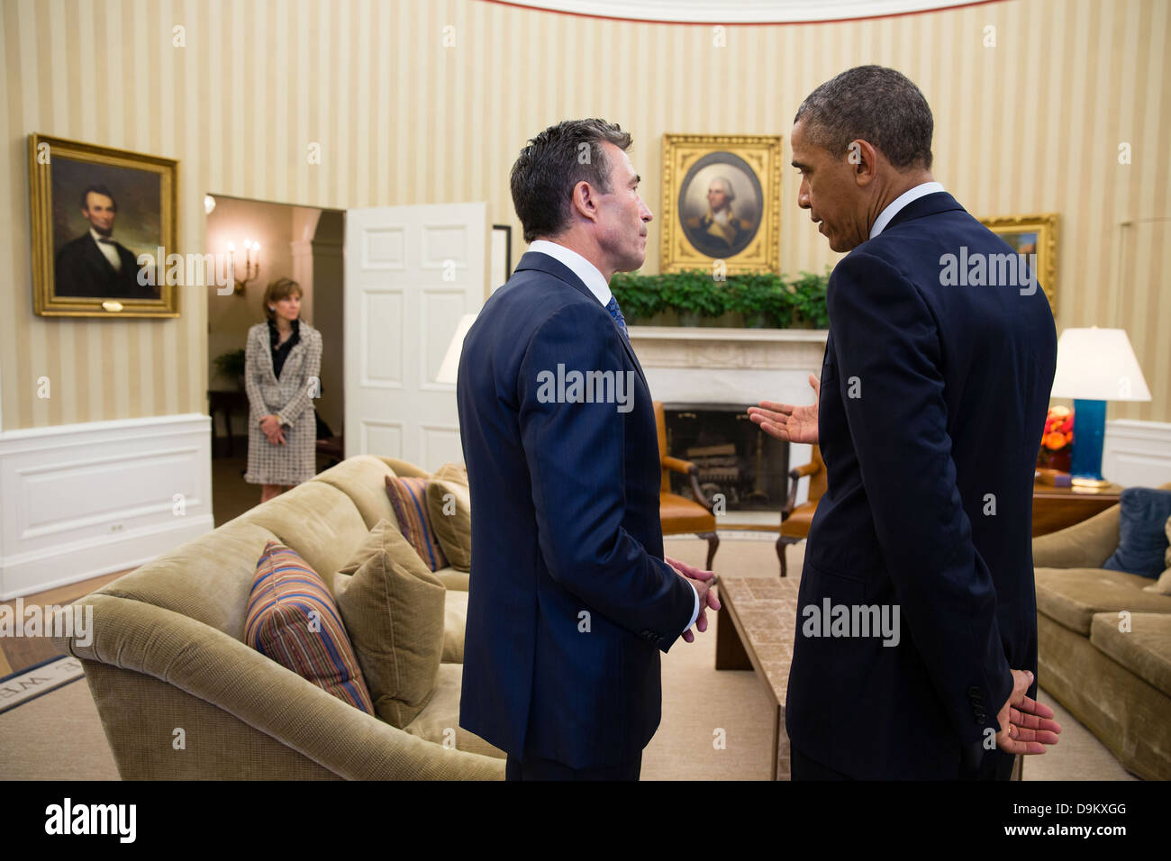 US President Barack Obama talks with the Secretary General of NATO Anders Fogh Rasmussen following their meeting Stock Photo
