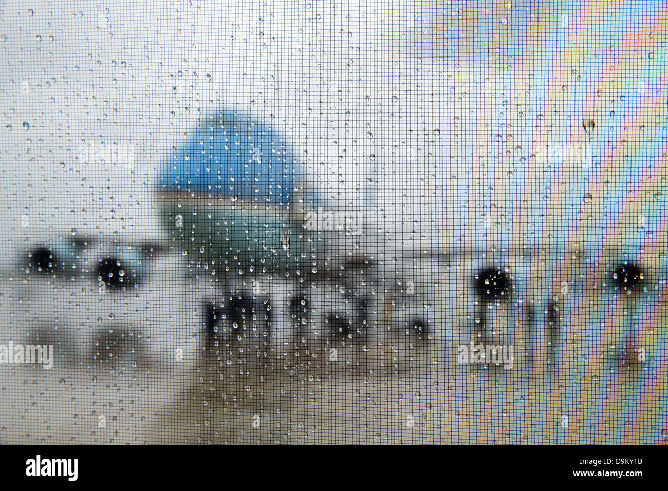 Air Force One is seen through rain drops on a Nighthawk 2 helicopter window at Joint Base McGuire-Dix-Lakehurst - Stock Image