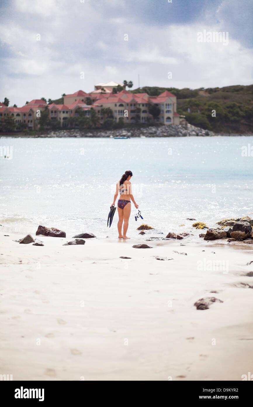 Woman with snorkel, St Maarten, Netherlands - Stock Image