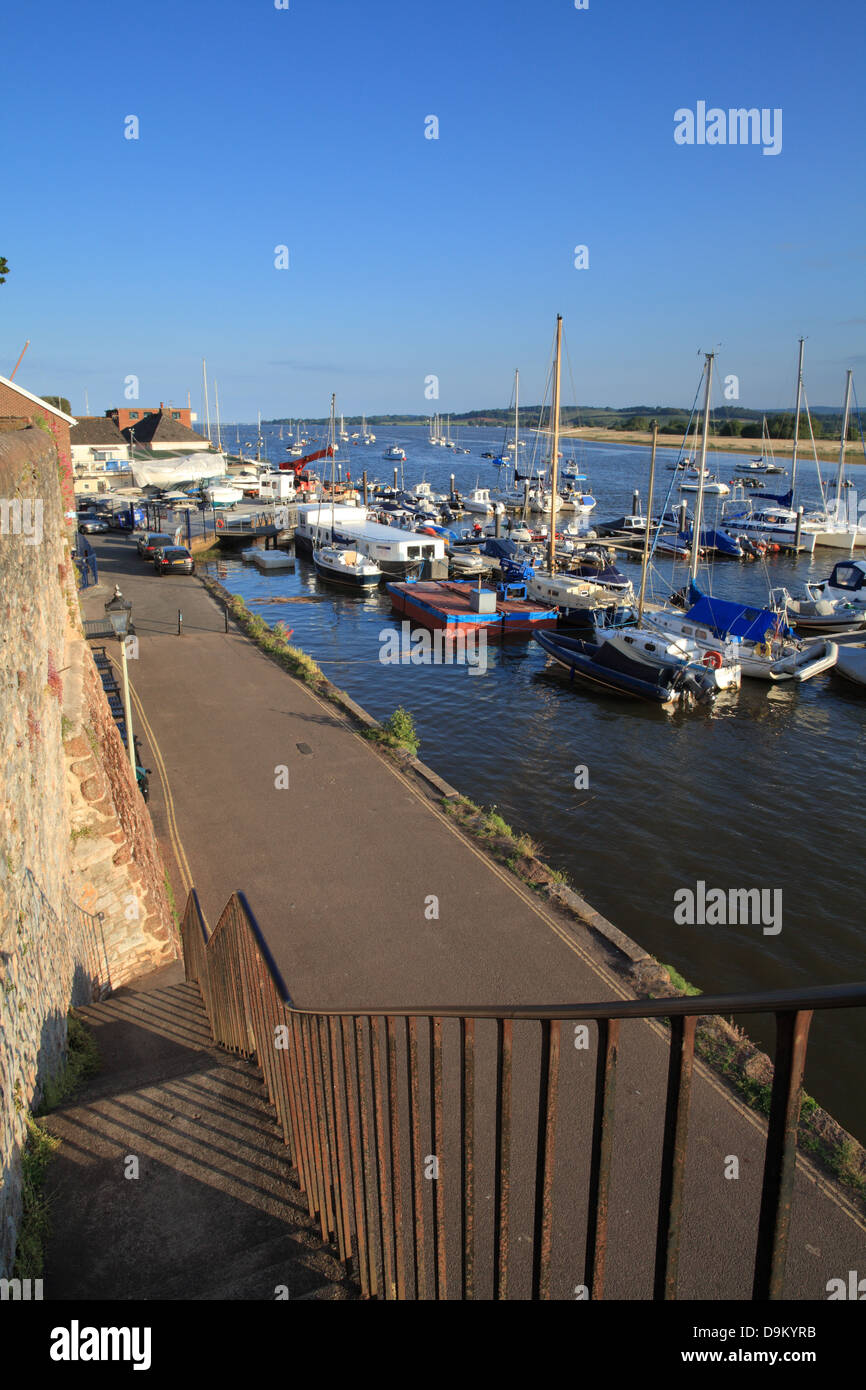 Topsham waterfront, view towards Exmouth at  high tide, Devon, England, UK - Stock Image