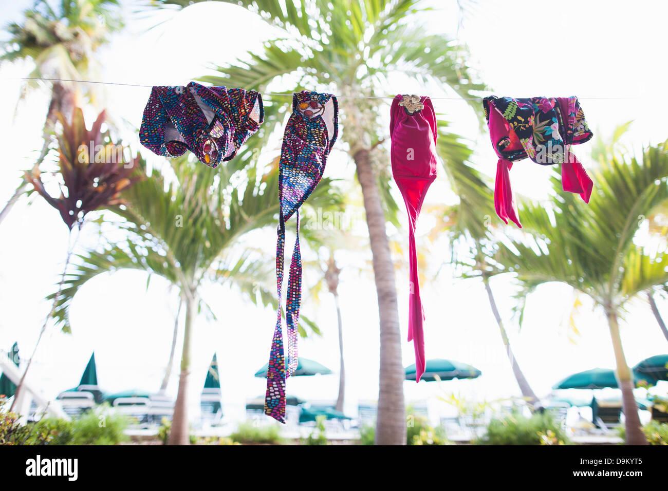 Swimwear on clothesline, St Maarten, Netherlands - Stock Image