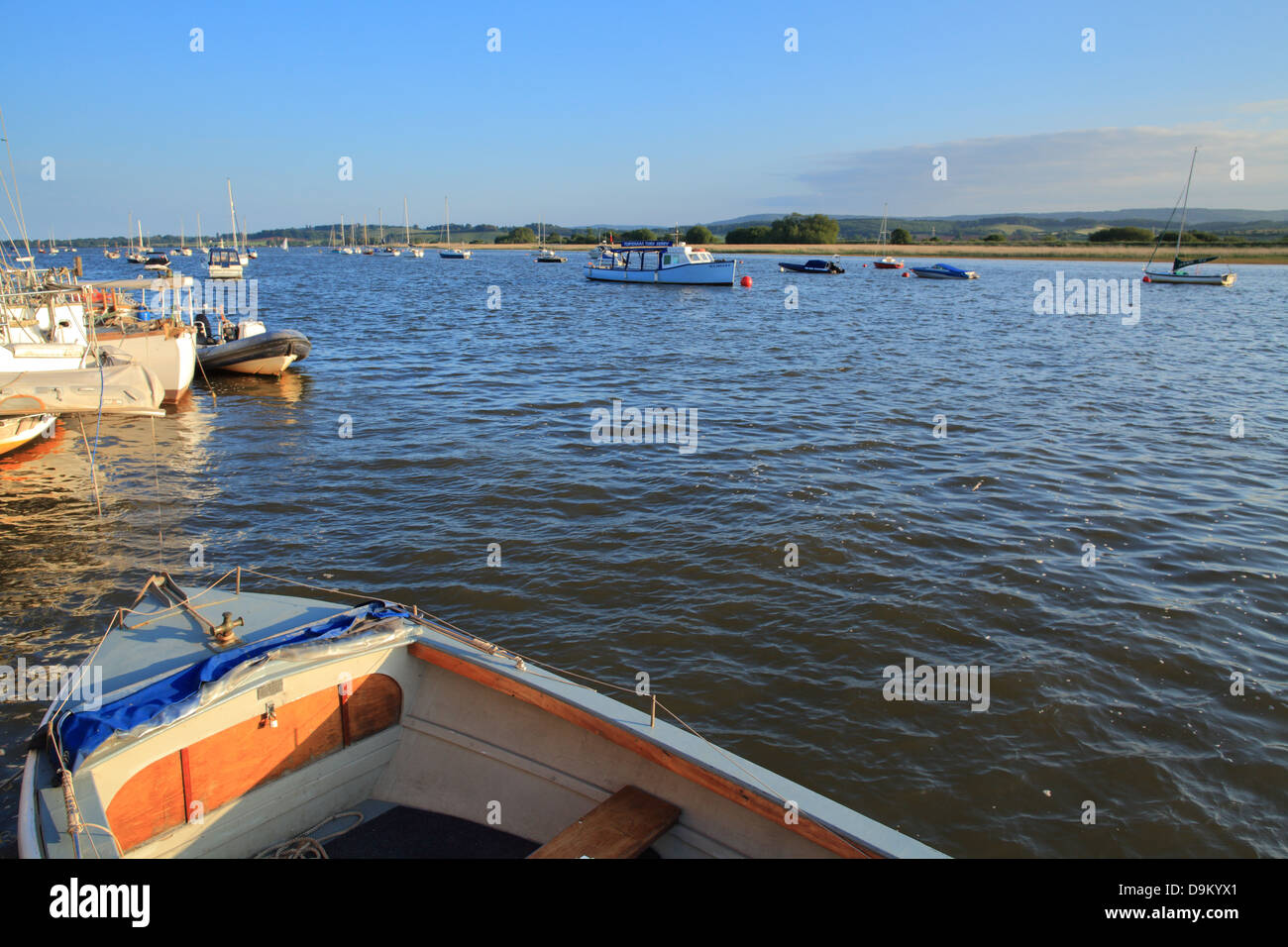 Topsham, view towards Exmouth at  high tide, Devon, England, UK - Stock Image