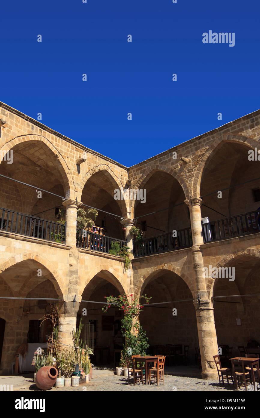Courtyard of Buyuk Han in Nicosia, Cyprus. Stock Photo