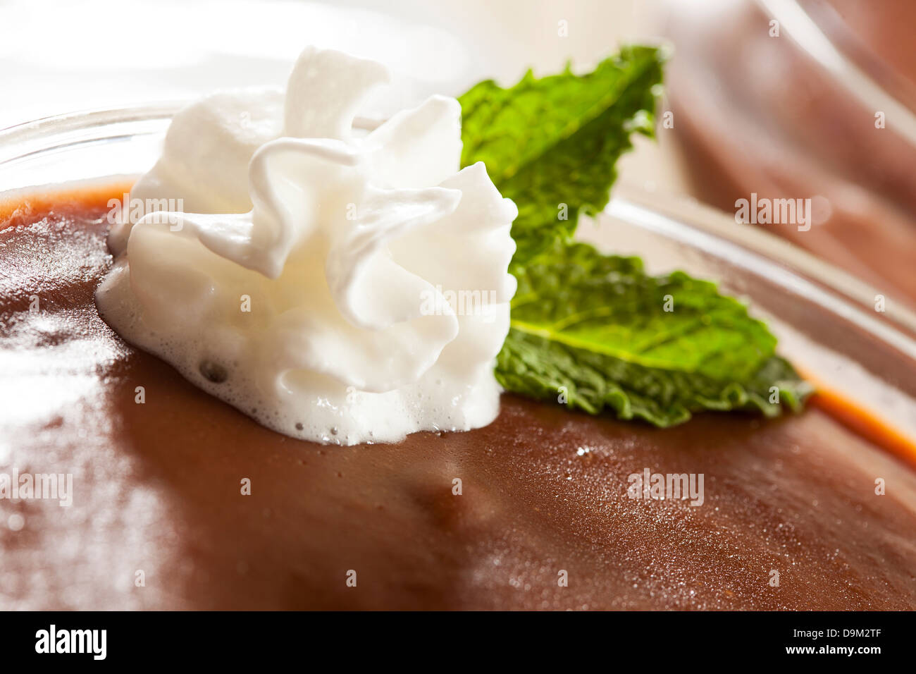 Hot Homemade Chocolate Pudding with whipped cream - Stock Image
