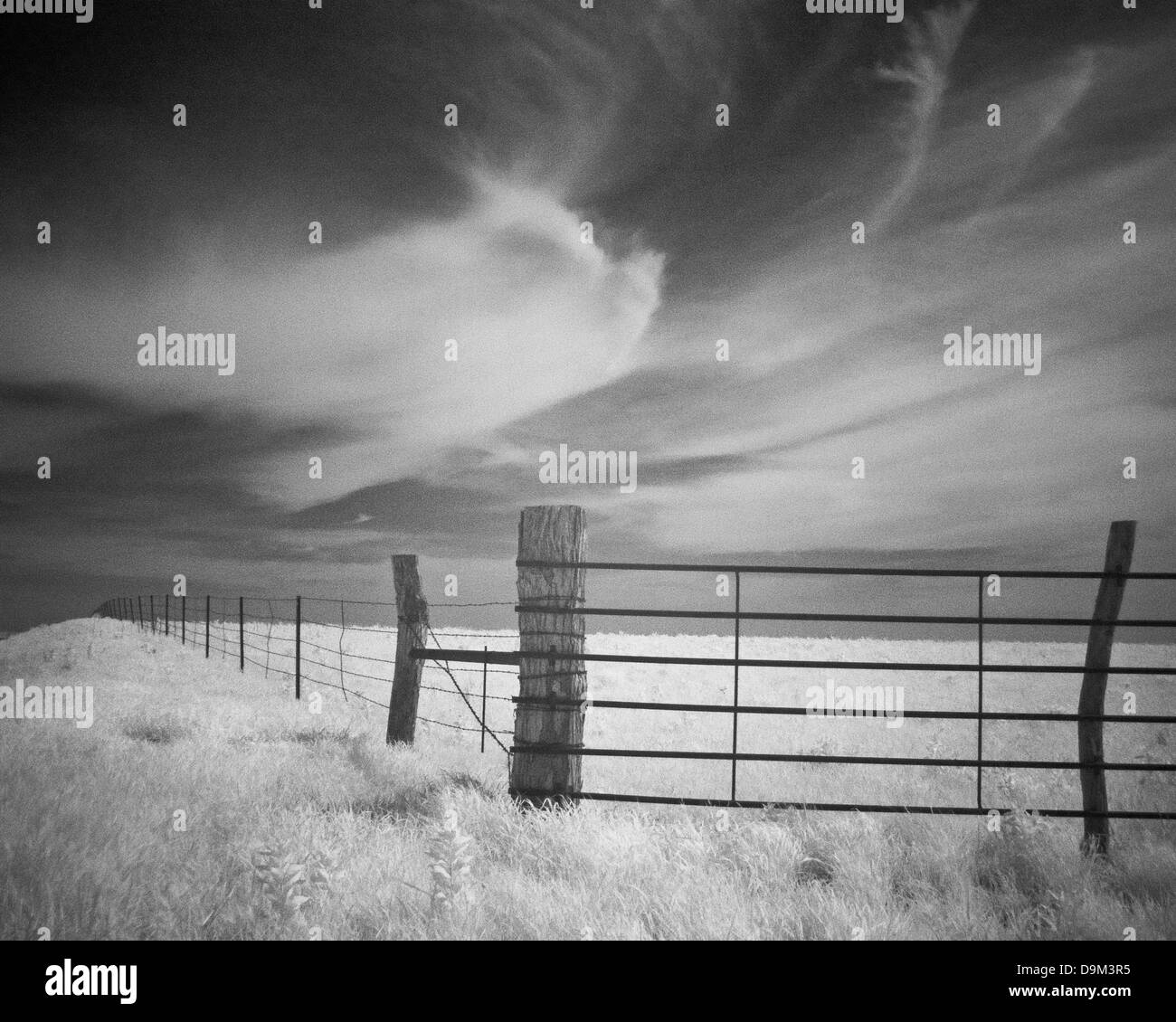 Infrared Image Fences of the Plains - Stock Image