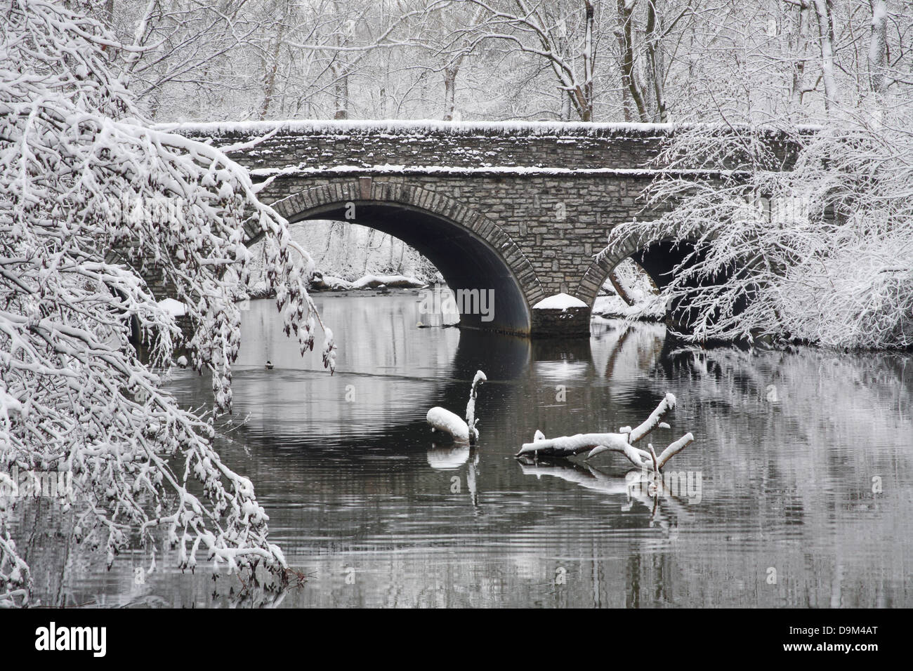 Snow Covered Trees Framing A Stone Bridge And River During Winter In The Park, Sharon Woods, Southwestern Ohio, Stock Photo