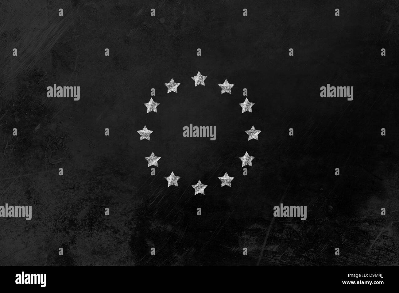 a star circle such as the flag of the european union with chalk on a blackboard - Stock Image