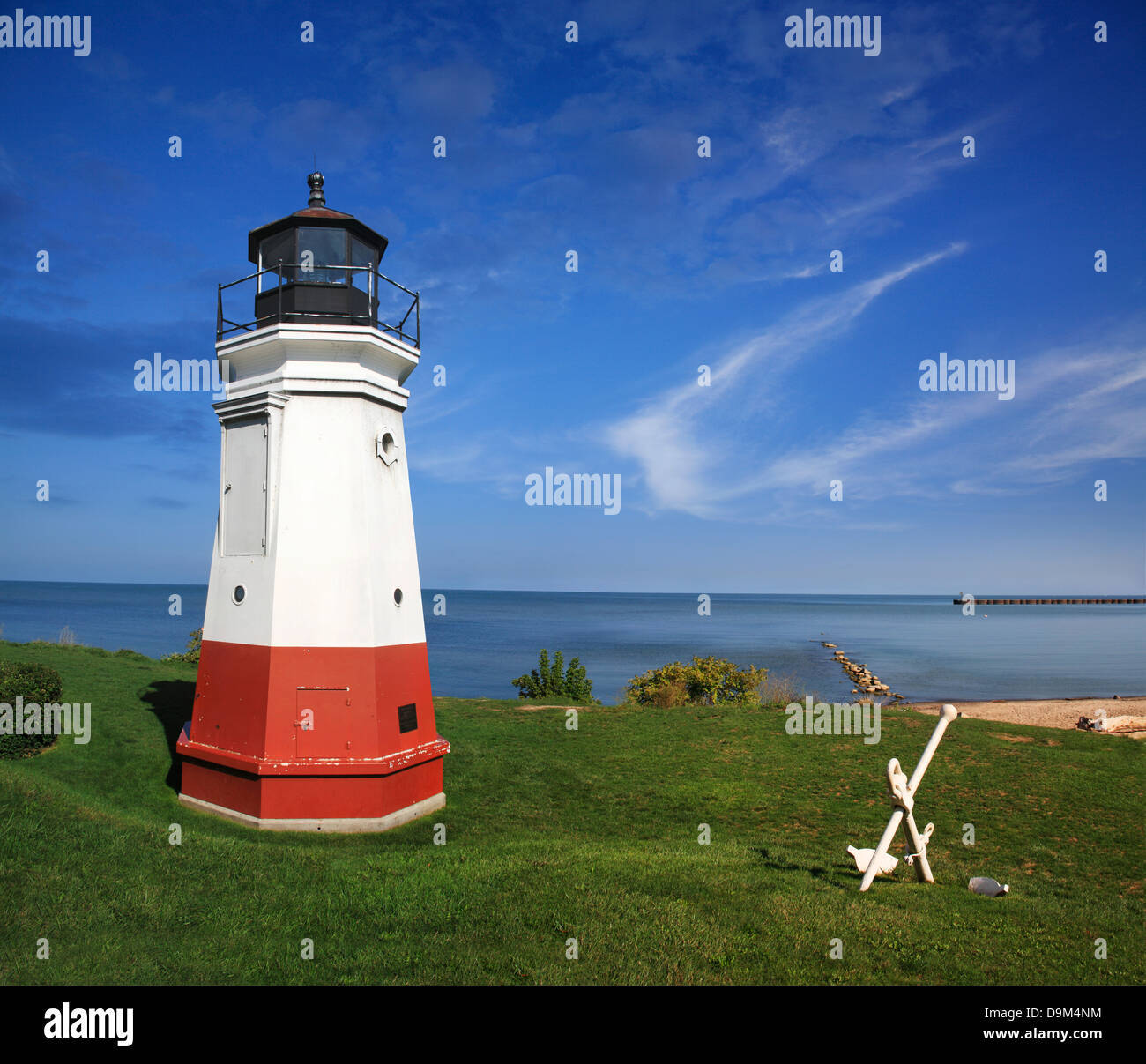 A Very Cute And Very Small Lighthouse, The Vermilion Light On A Gorgeous Day At Vermilion Ohio On Lake Erie, USA - Stock Image