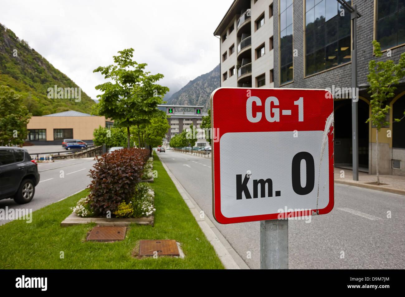 cg-1 signpost at km 0 start of the main roads andorra la vella andorra - Stock Image