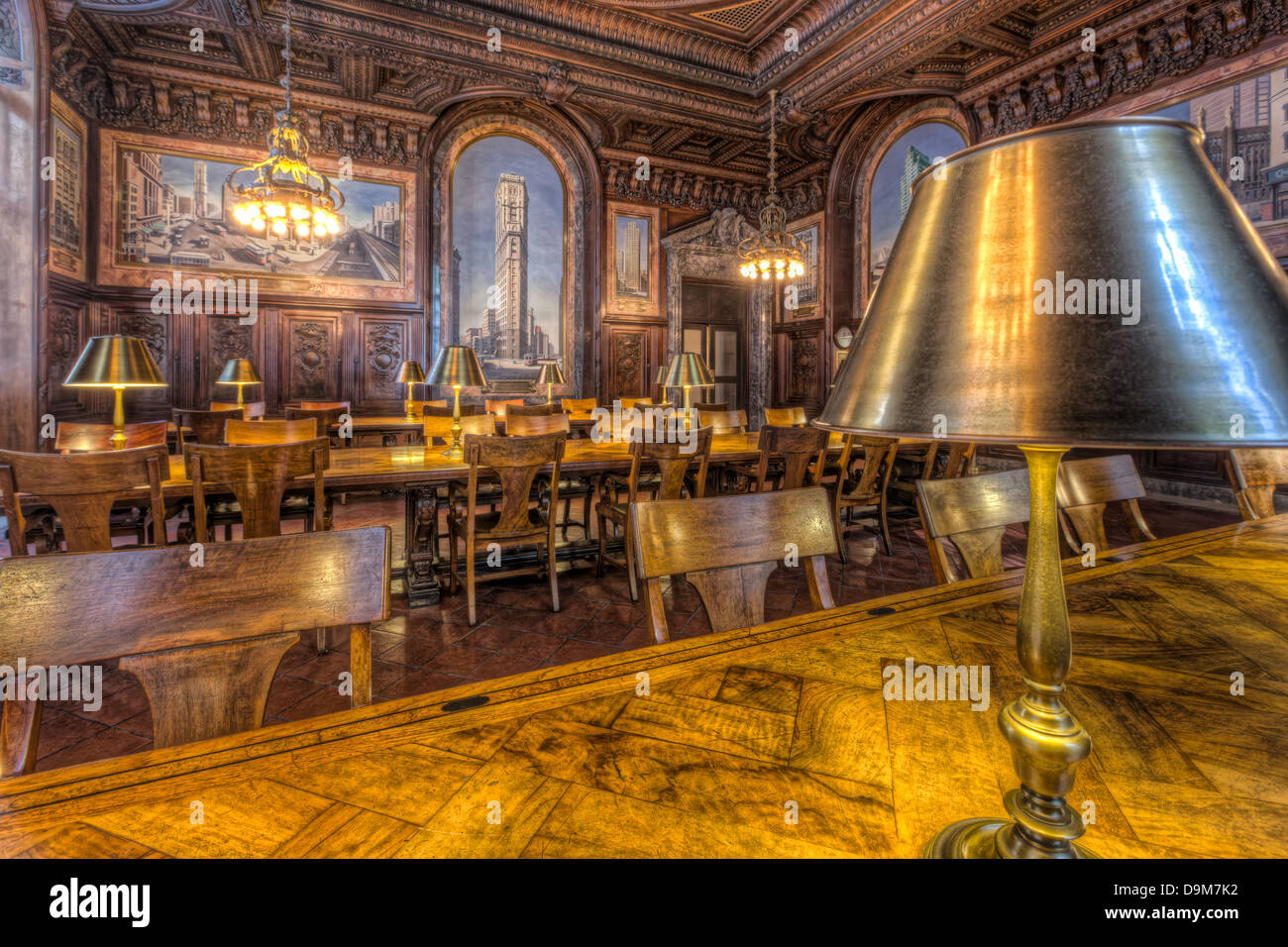 Wood paneling and murals decorate the New York Public Library's DeWitt Wallace Periodicals Room. - Stock Image