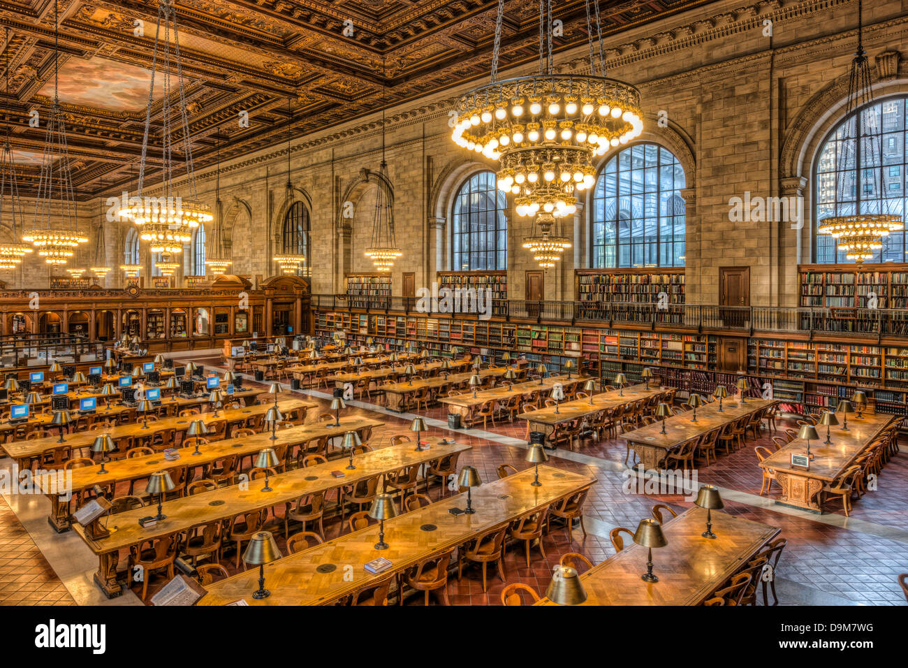 An elevated view of the Rose Main Reading Room in the main branch of the New York Public Library in New York City. - Stock Image