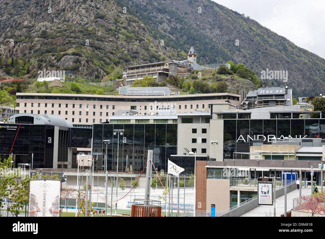 view over andorran including andbank and hospital nostra senyora de meritxell and collegi sant ermengol andorra Stock Photo