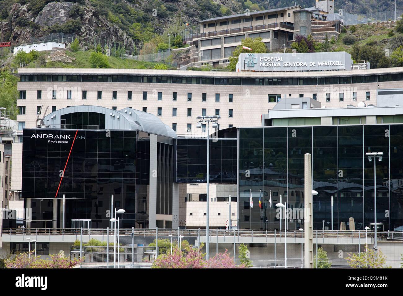 view over andorran including andbank and hospital nostra senyora de meritxell andorra la vella andorra Stock Photo