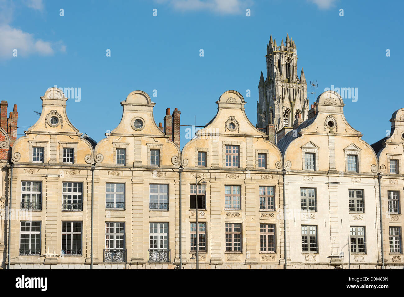 Arras France Flemish style buildings in the main square of Grande Place. - Stock Image