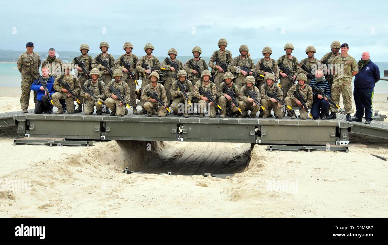 Bridge building exercise by 22 Engineer Regiment - Stock Image