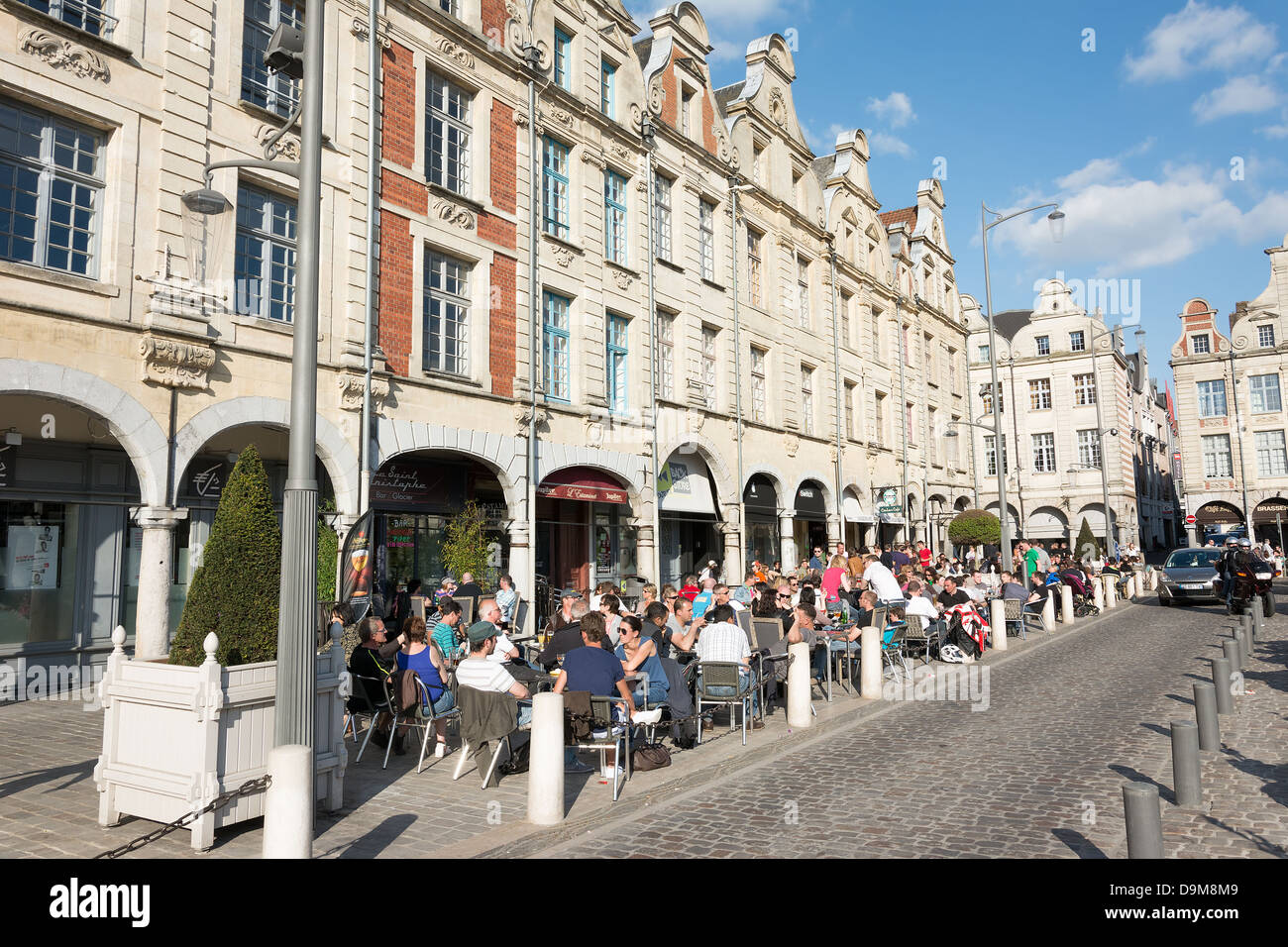 The Grande Place in Arras. Famous for its Flemish style architecture the main square of the town is popular with - Stock Image
