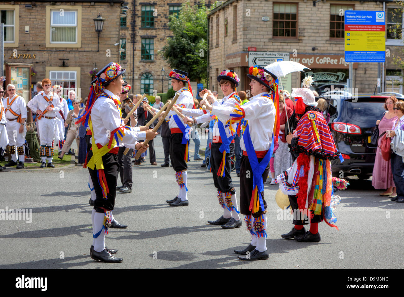 Morris Dancers at the Rushcart Ceremony on the 20th of August, 2011 in Saddleworth, UK. - Stock Image