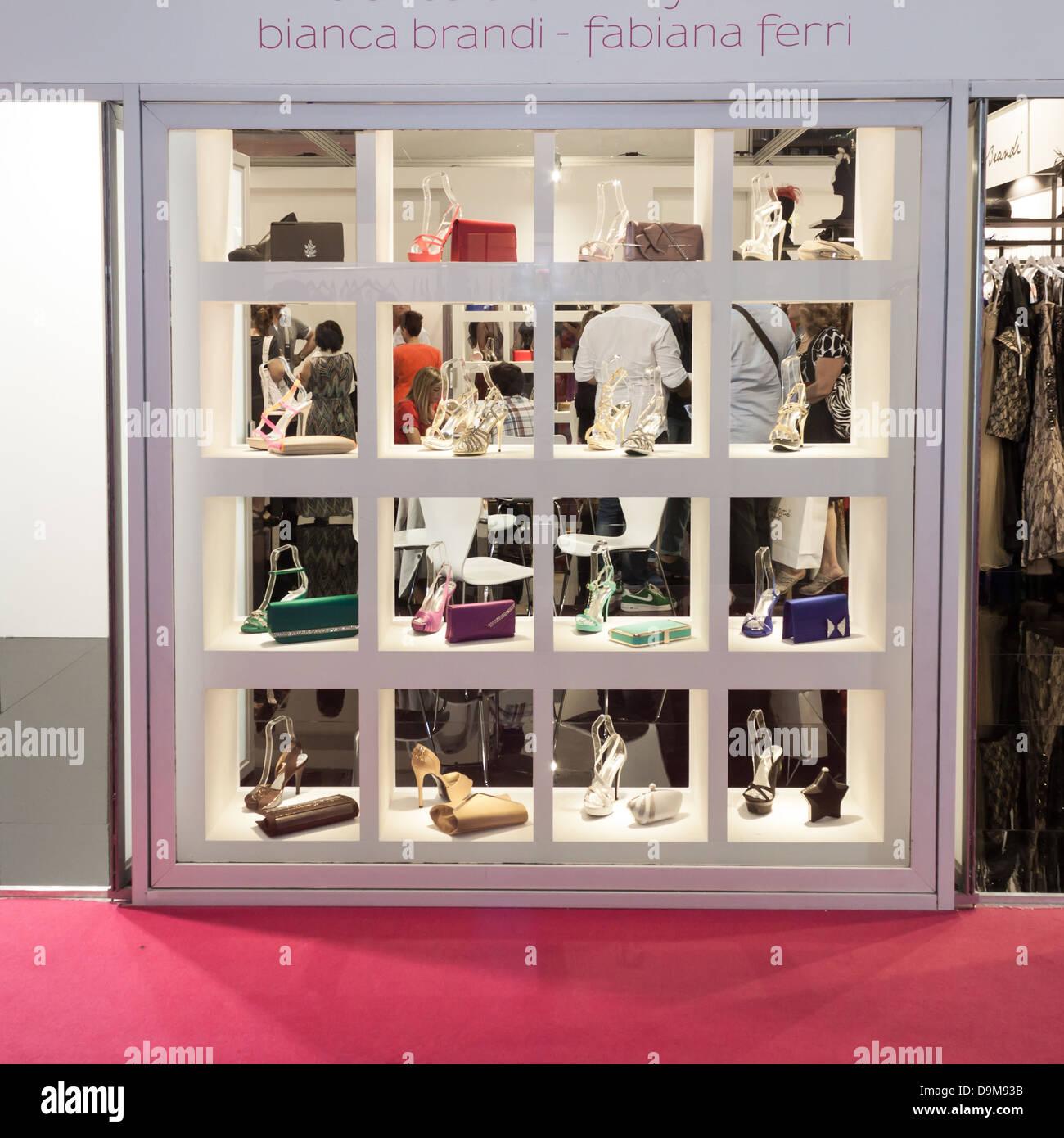Milan, Italy - June 21, 2013: People visit SposaItalia, international exhibition of bridal and formal wear in Milan. - Stock Image