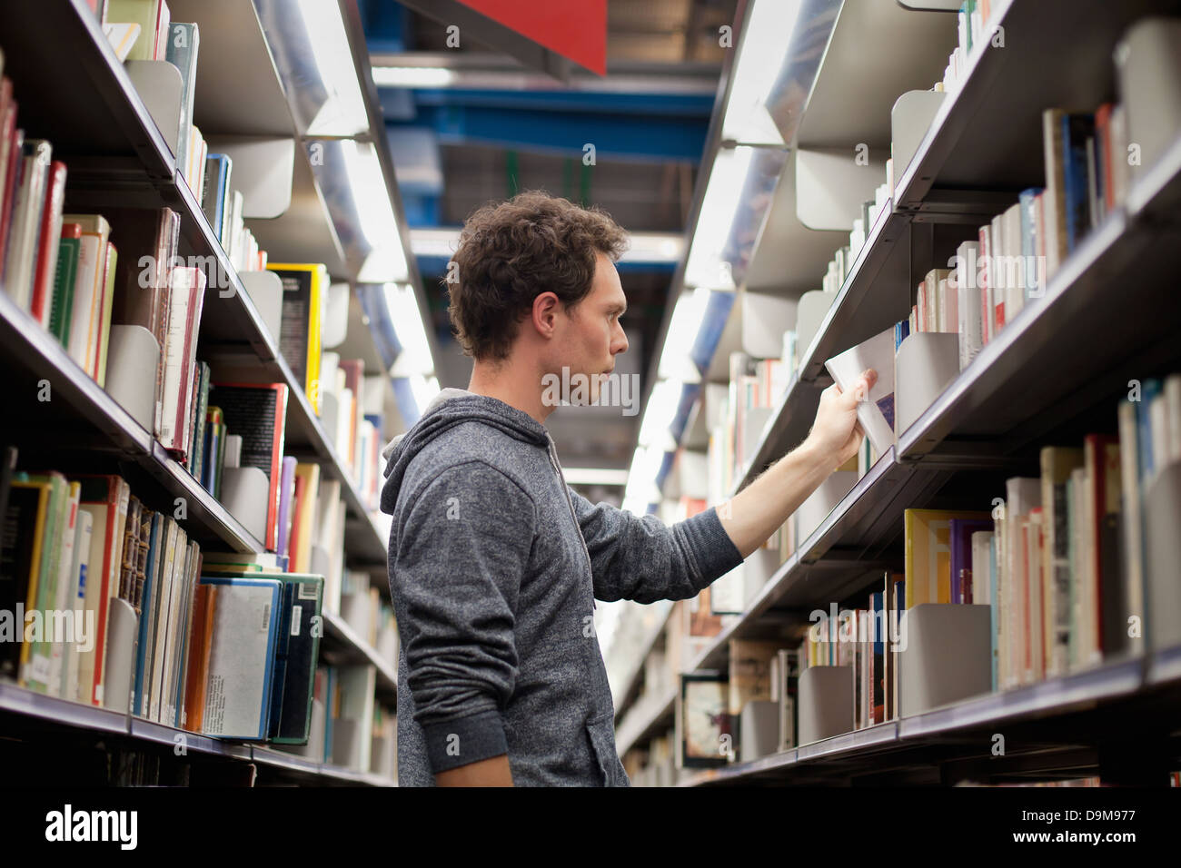 student in book shop or library - Stock Image
