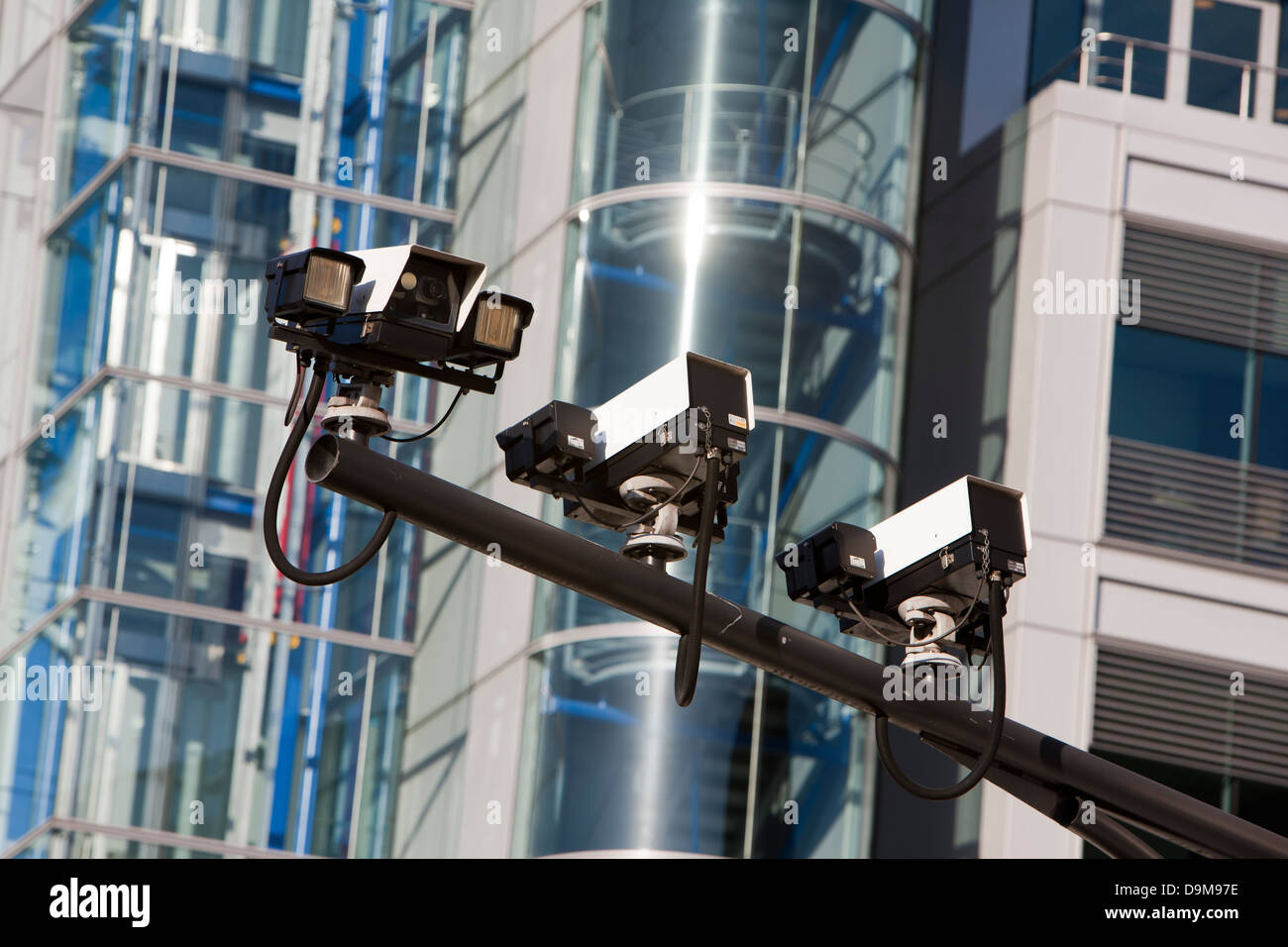 Traffic cameras in front of Tower Bridge, London, UK - Stock Image