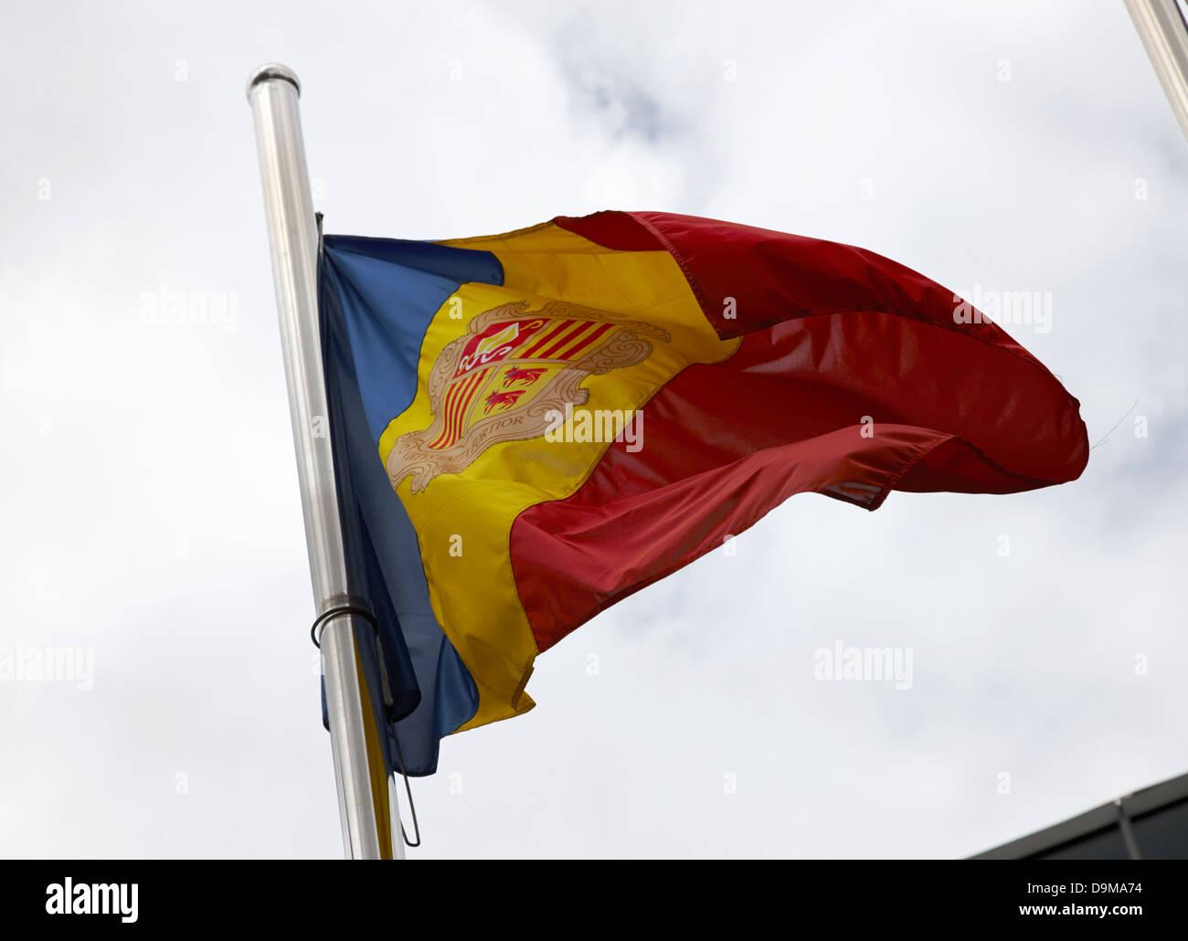 andorran flag flying andorra la vella andorra - Stock Image