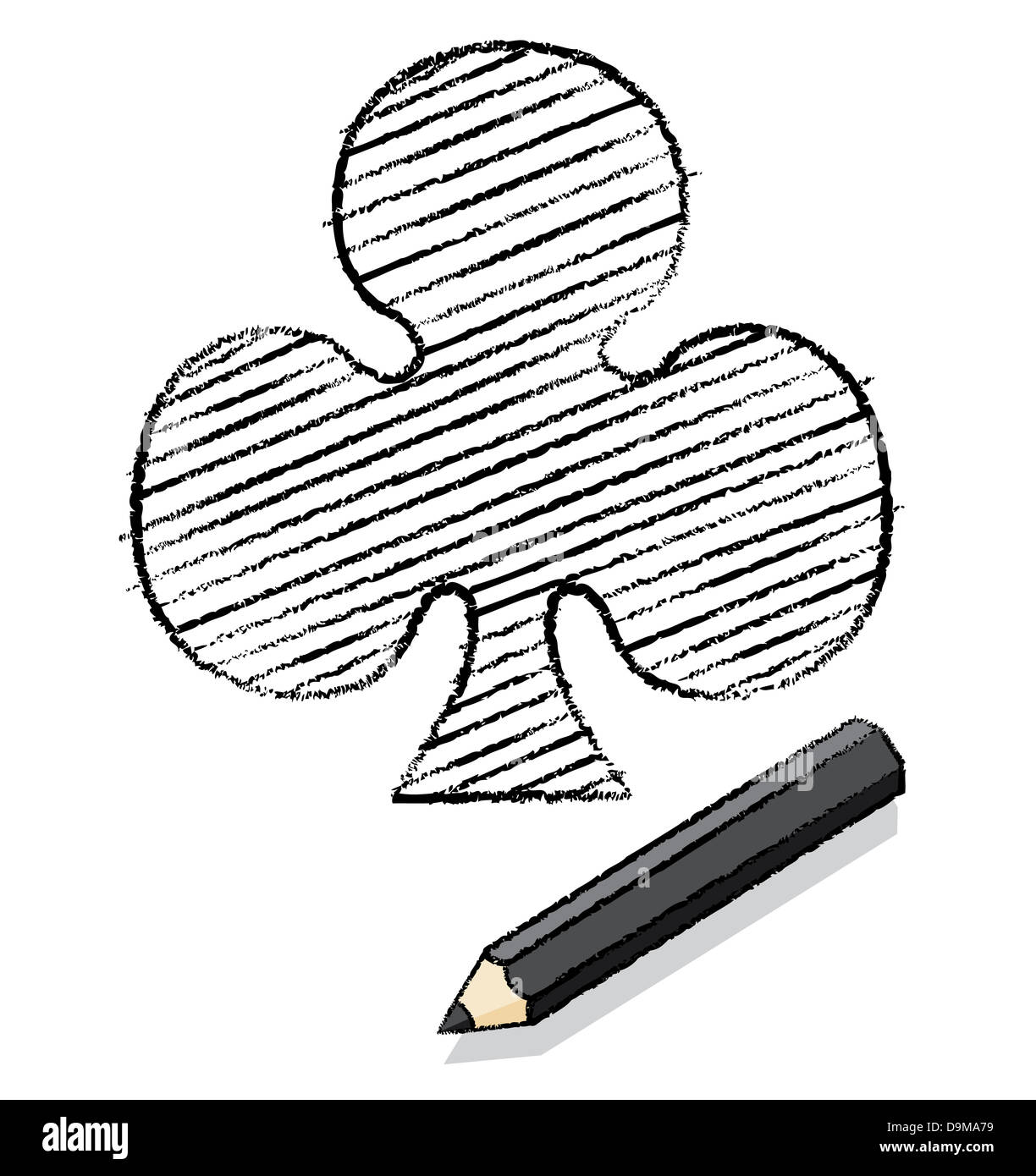 Ace Of Clubs Playing Card Icon Drawn By A Black Pencil With Shadow