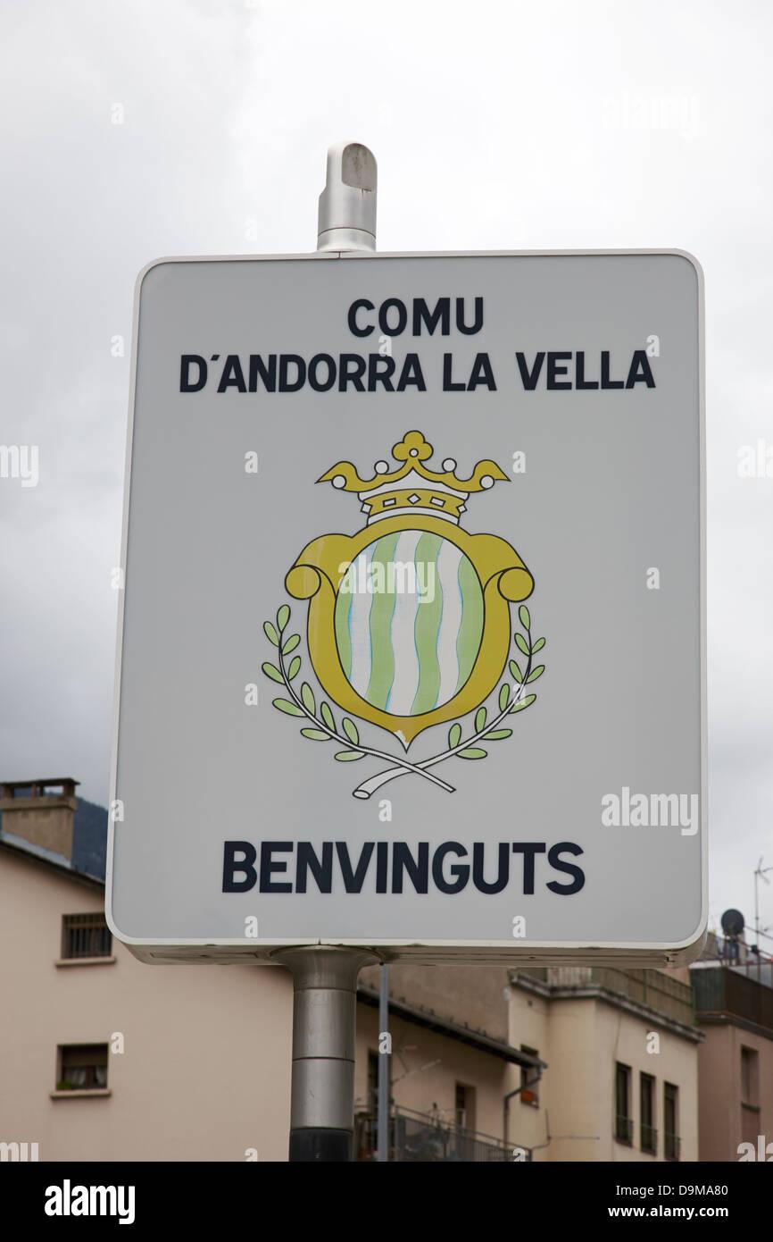 welcome to andorra la vella district andorra - Stock Image