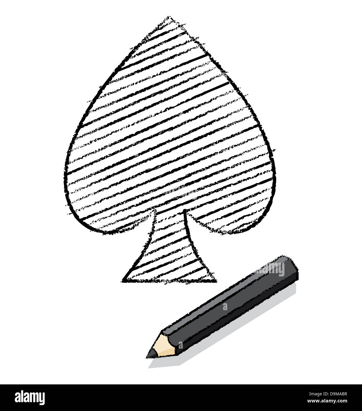 Ace of spades playing card icon drawn by a black pencil with