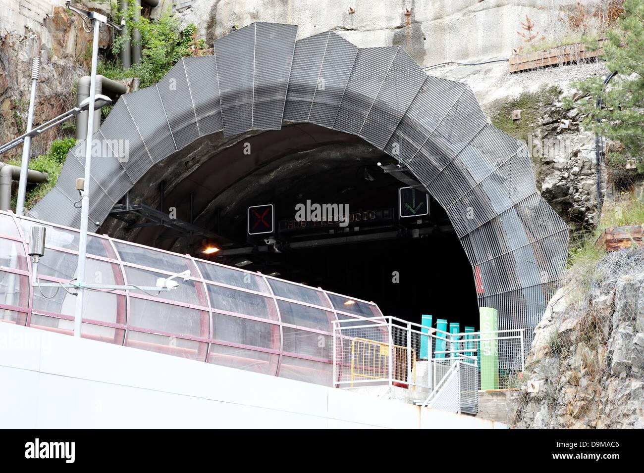 cg-3 road tunnel out of andorra la vella andorra - Stock Image
