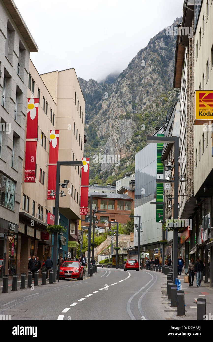 shops in the old town of andorra la vella andorra Stock Photo