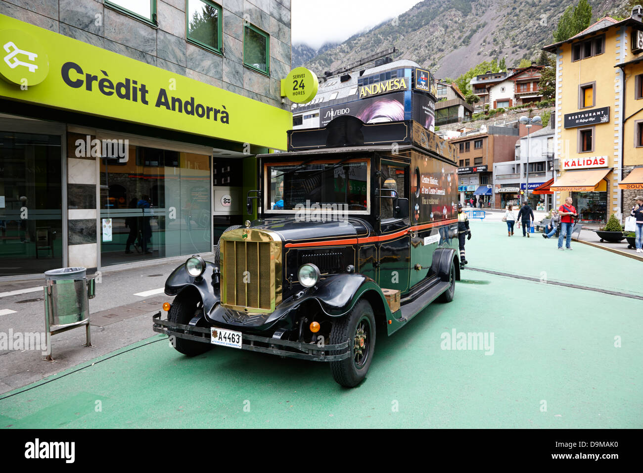 old car at the entrance to the centre historic and centre commercial of andorra la vella andorra - Stock Image