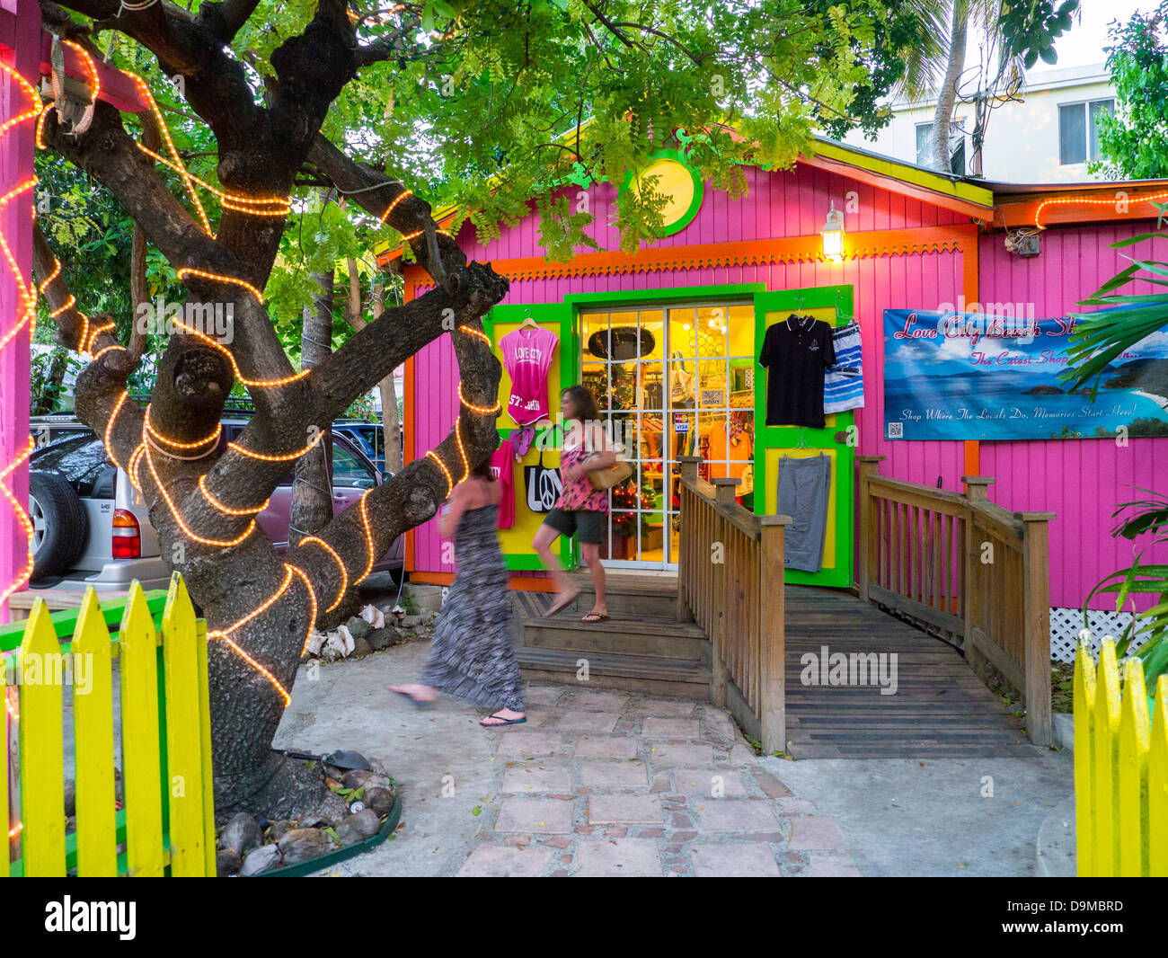 Colorful shop in Cruz Bay on the Caribbean Island of St John in the US Virgin Islands - Stock Image