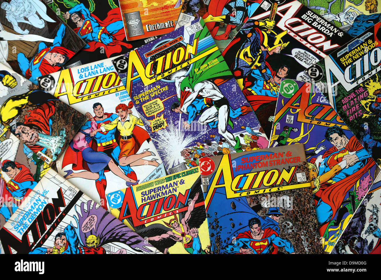 A Collection Of DC Comics Superman Action Comics - Stock Image