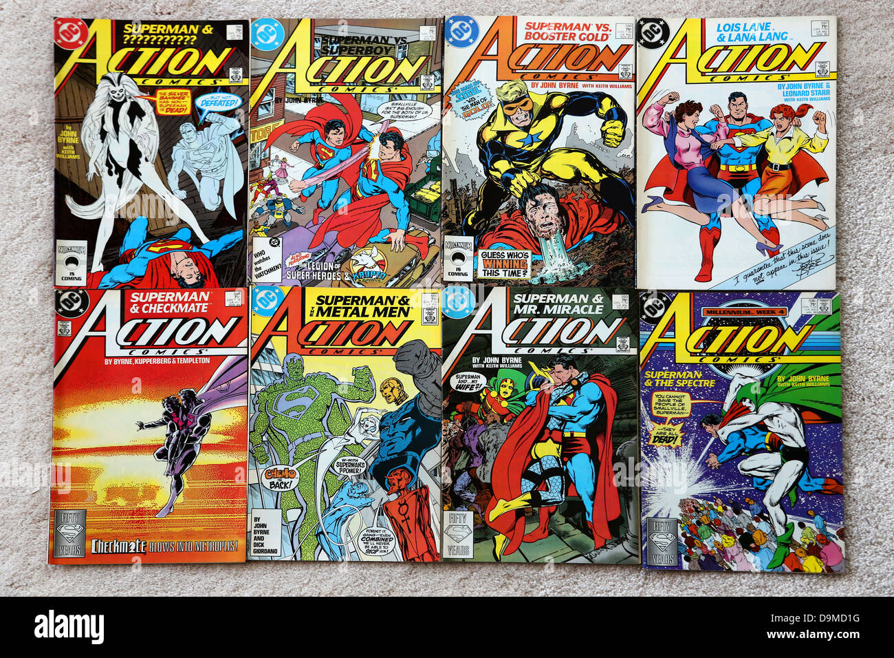 Collection Of DC Comics Superman Action Comics - Stock Image