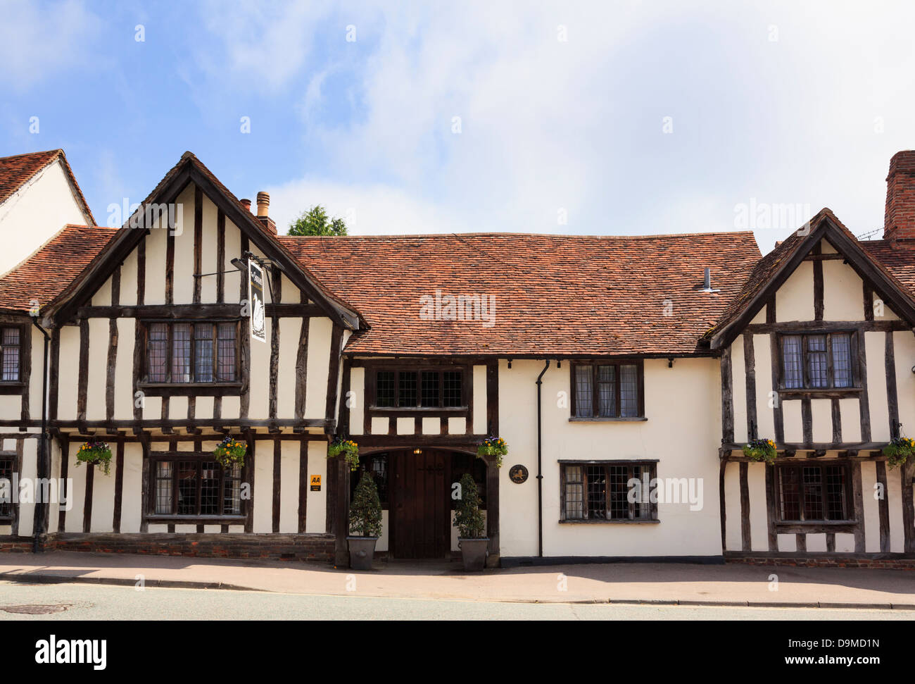 15th century Swan Hotel in a timbered building in Lavenham, Suffolk, England, UK, Britain - Stock Image