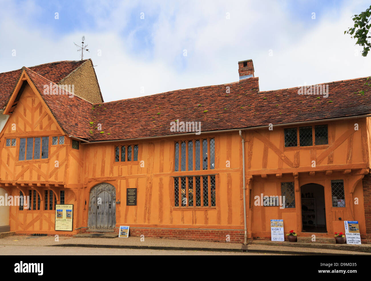 Little Hall museum in 14th century orange timbered building is one of oldest buildings in Lavenham Suffolk England Stock Photo