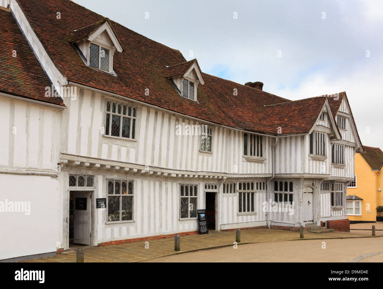Guildhall of wool guild of Corpus Christi in a 16thc Tudor timbered building in medieval village Lavenham Suffolk - Stock Image