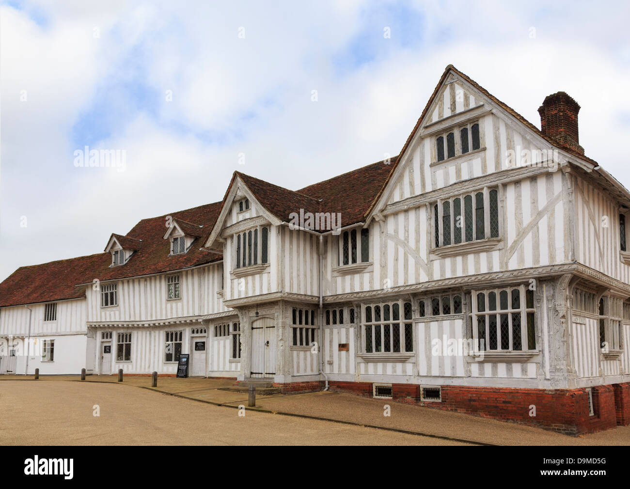 Guildhall of wool guild of Corpus Christi in 16thc Tudor half timbered building in medieval village Lavenham Suffolk - Stock Image