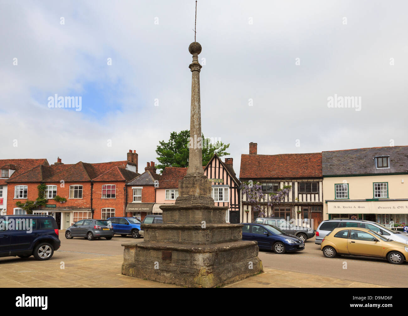 Historic village square with 16th century market cross (1502) built by clothier William Jacob in Lavenham, Suffolk, - Stock Image