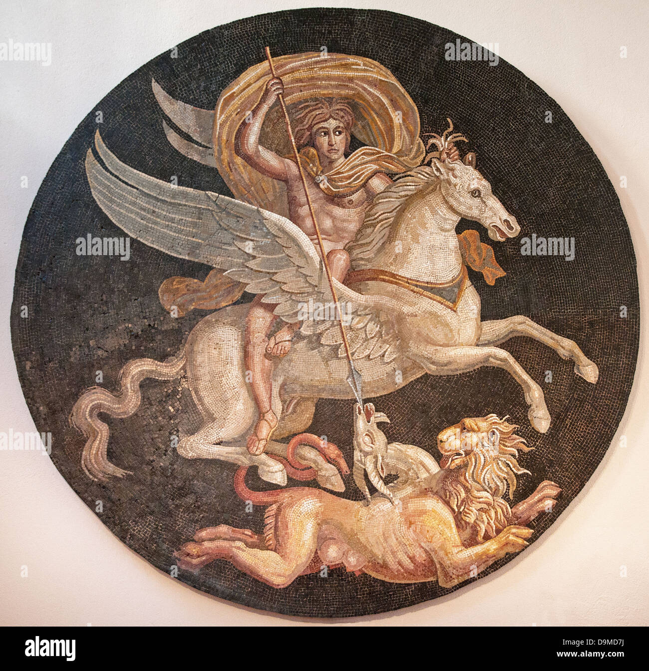 Roman mosaic of ancient Greek Hero Bellerofon killing monster Chimera displayed in Museum Rolin Autun France - Stock Image
