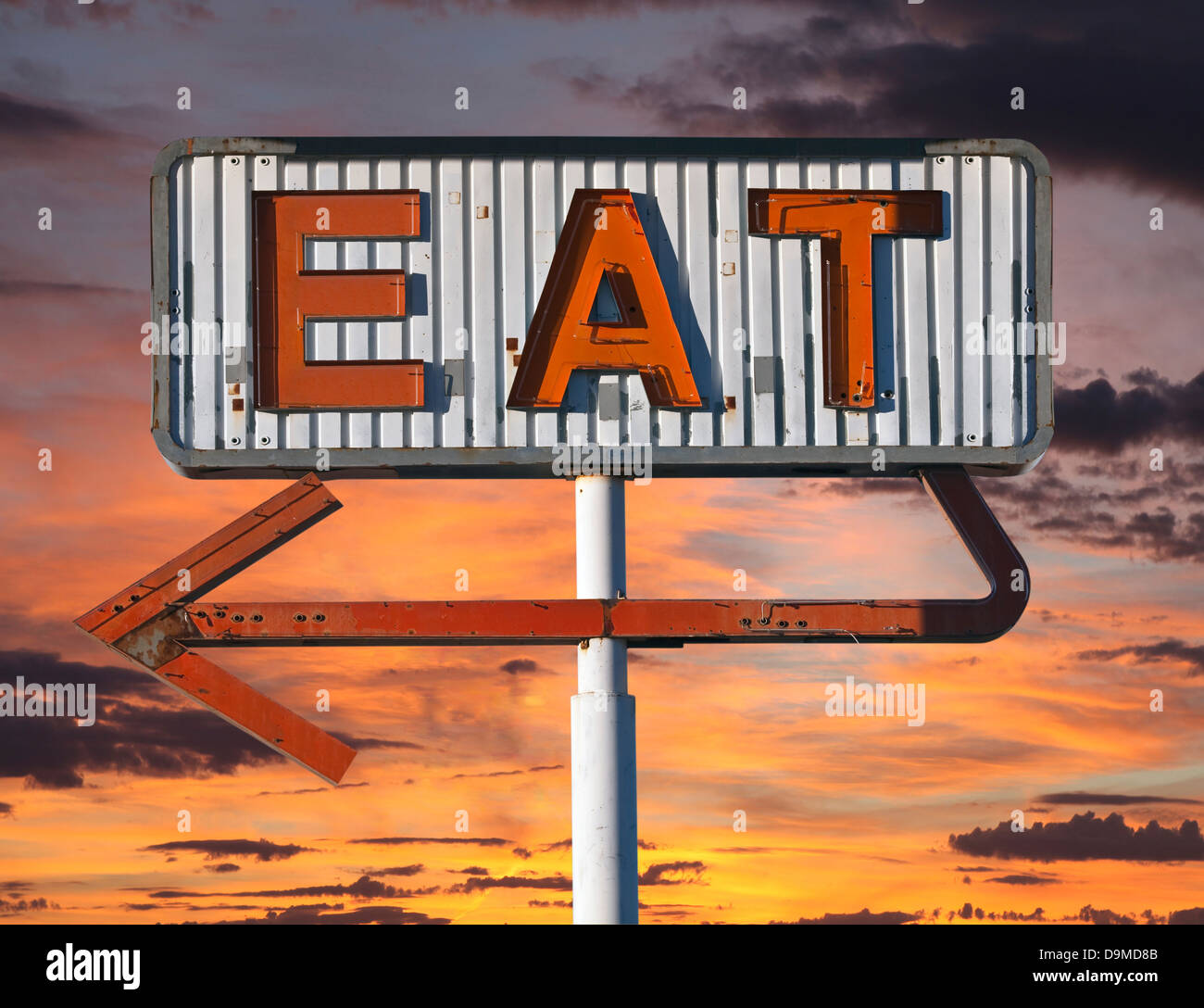 vintage eat arrow sign in with sunset sky stock photo 57612475 alamy