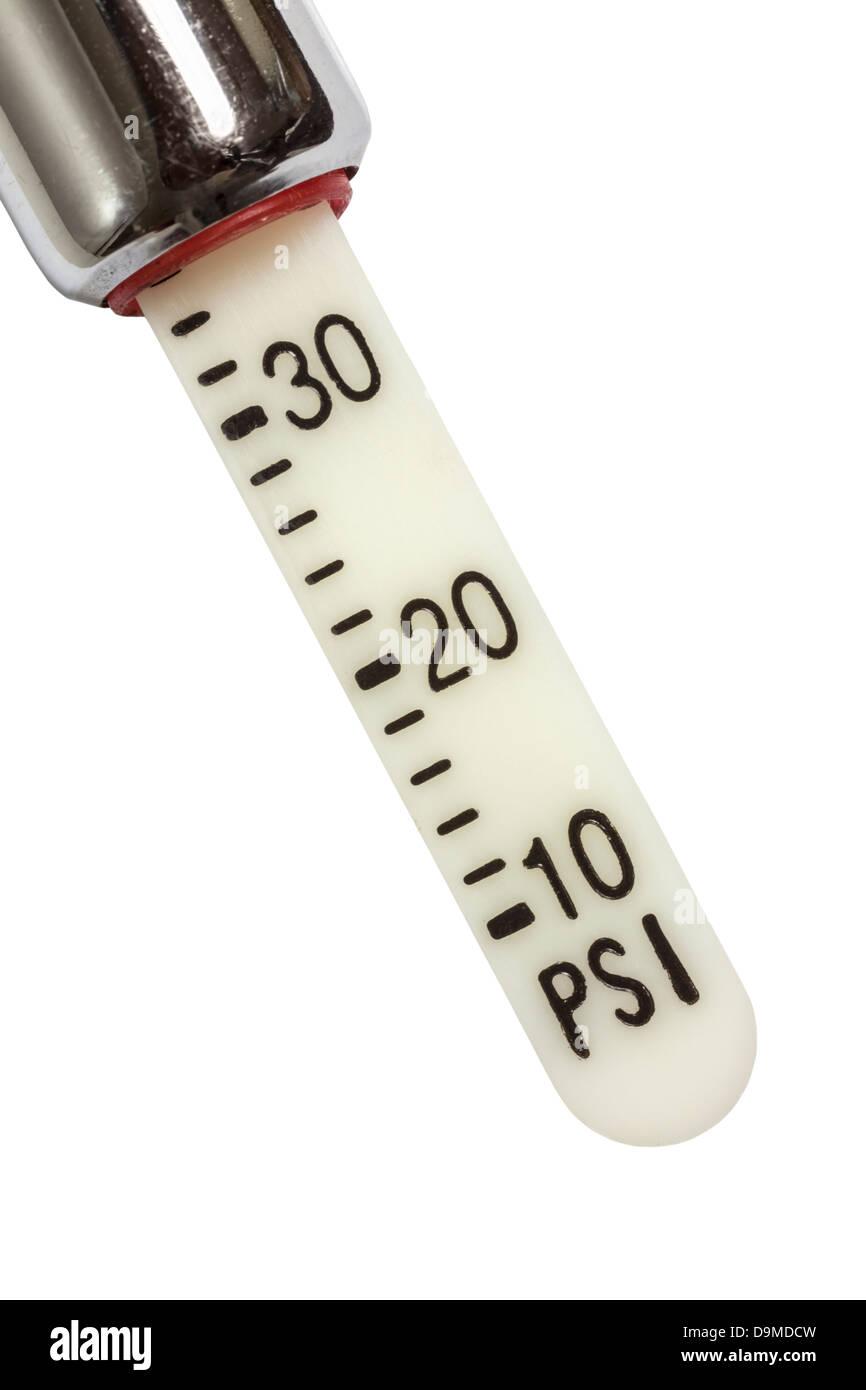 Tire air pressure gauge pounds per square inch macro - Stock Image