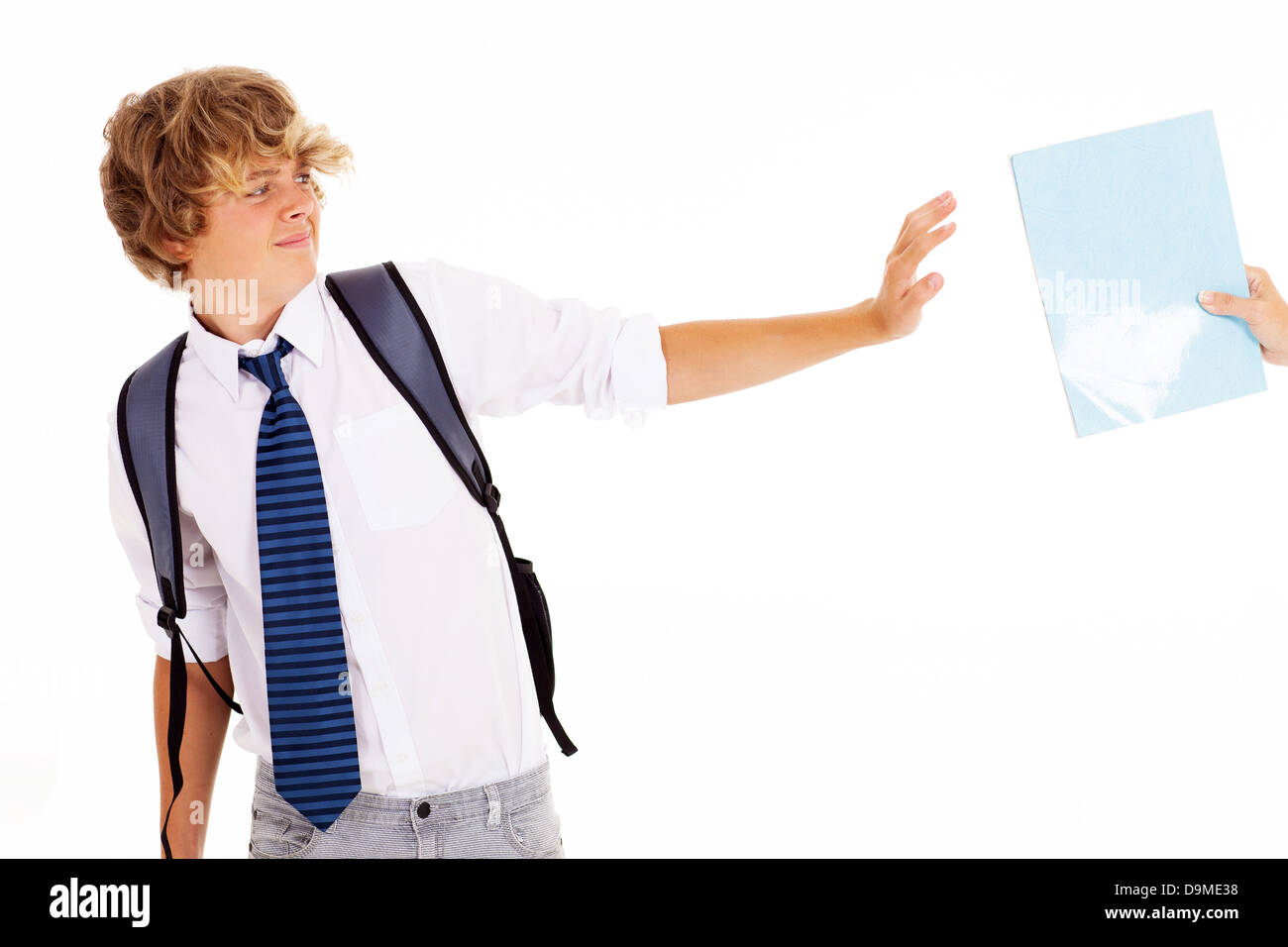 teen boy refuse to study a book - Stock Image