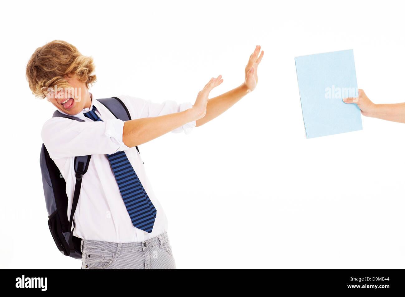 naughty teen student dislike and refuse to study - Stock Image