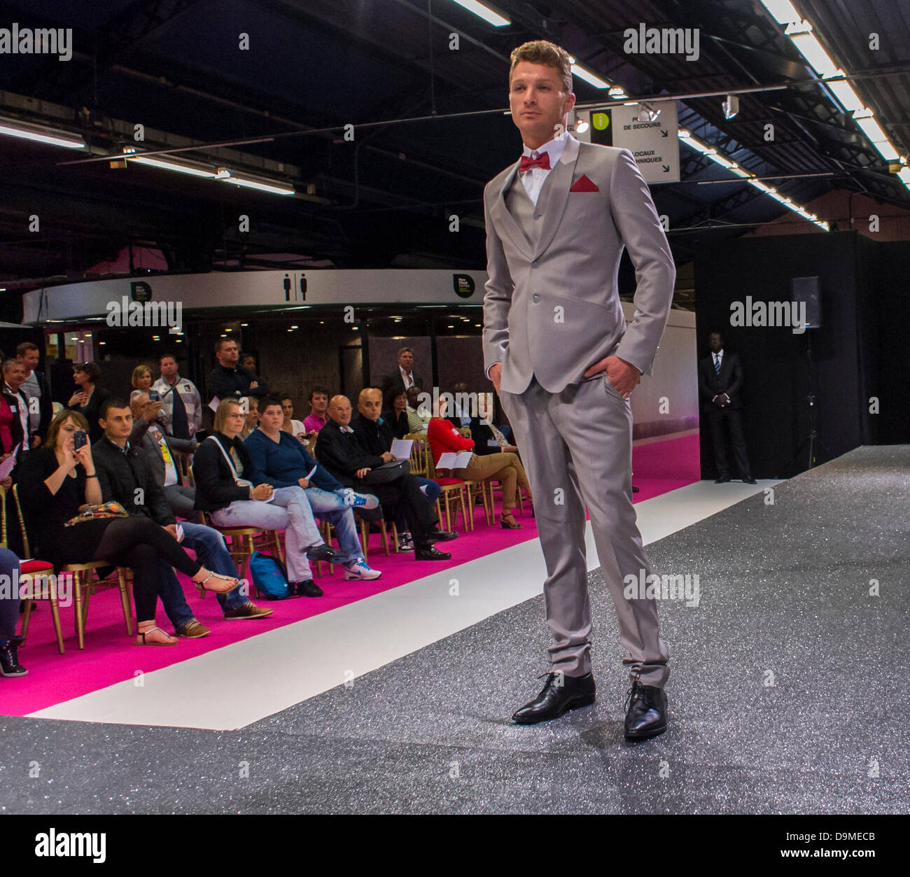 Paris, France, Male Model in Fashion Show, at First Gay Marriage Trade Show, on Catwalk in front of Audience - Stock Image