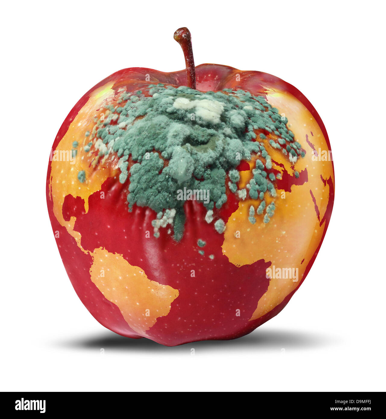 Global problems and environmental Issues concerning the health of the planet earth as a decaying red apple with - Stock Image