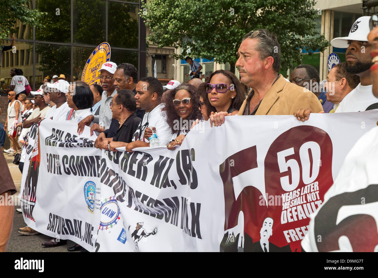 Detroit, Michigan - June 22, 2013 - Thousands of civil rights, labor, and community activists commemorate the 50th - Stock Image