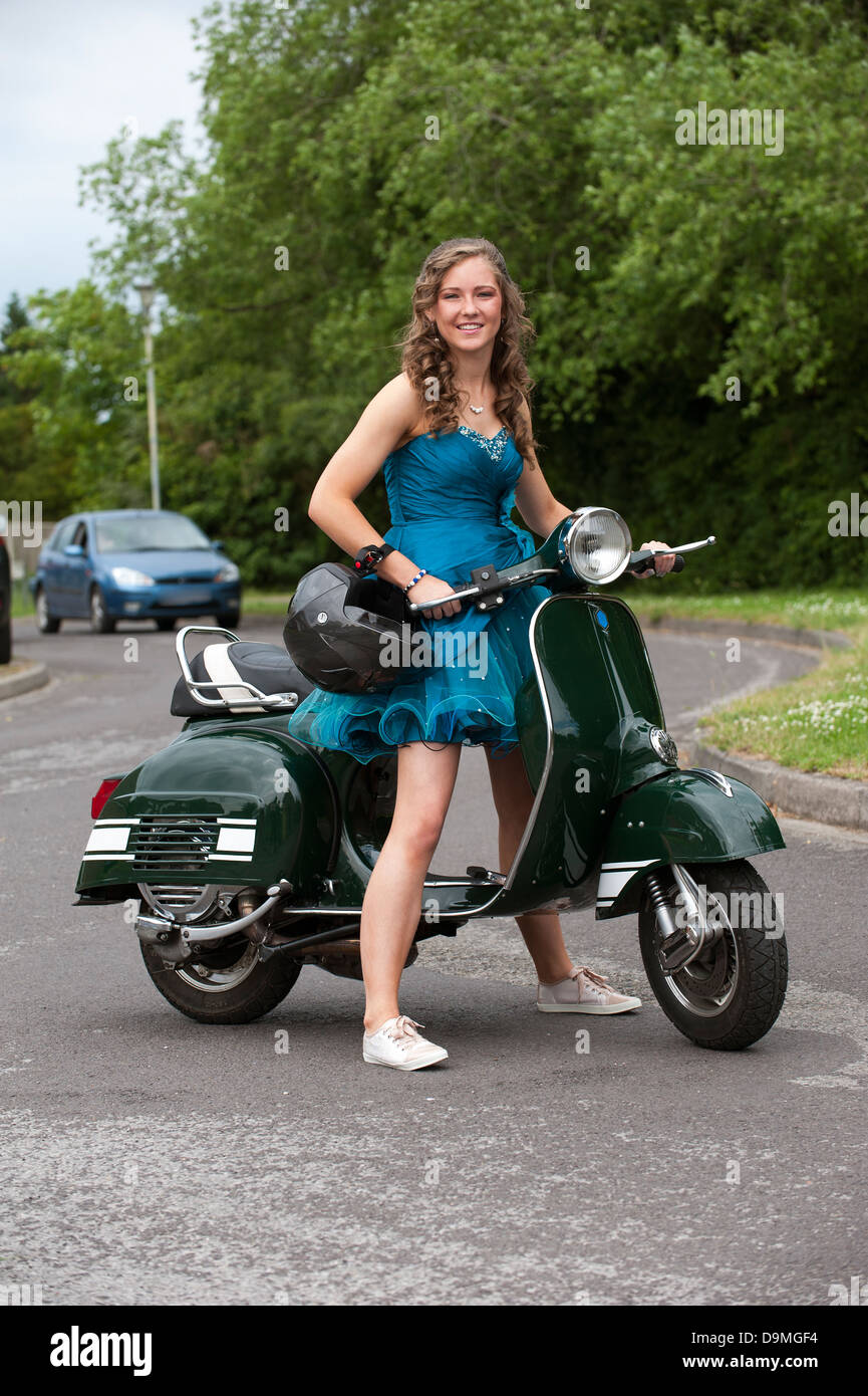 Teenage Girl Riding A Scooter Stock Photo 57615016 Alamy